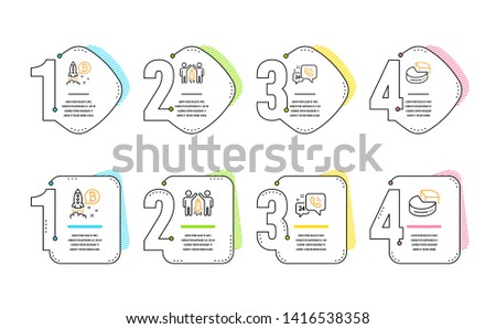 24h service, Partnership and Bitcoin project icons simple set. Pie chart sign. Call support, Business startup, Cryptocurrency startup. 3d graph. Technology set. Infographic timeline. Vector