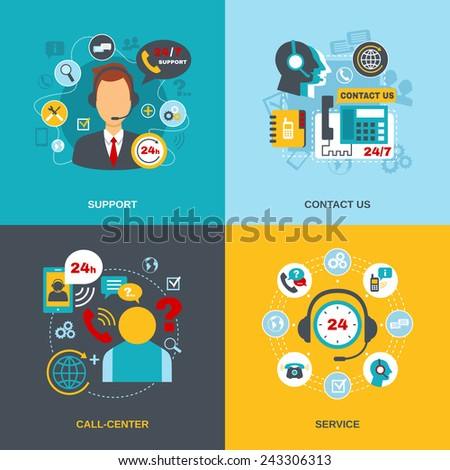 24h support telecommunication call center worldwide contact us information service flat icons composition abstract isolated vector illustration