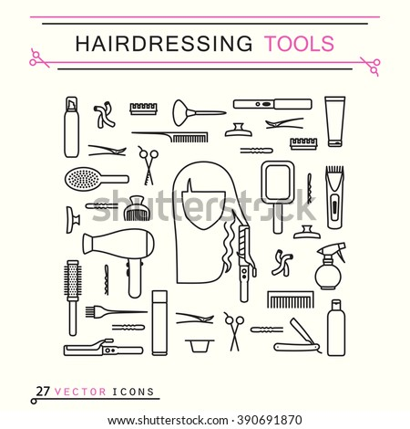 hairdressing tools  line art