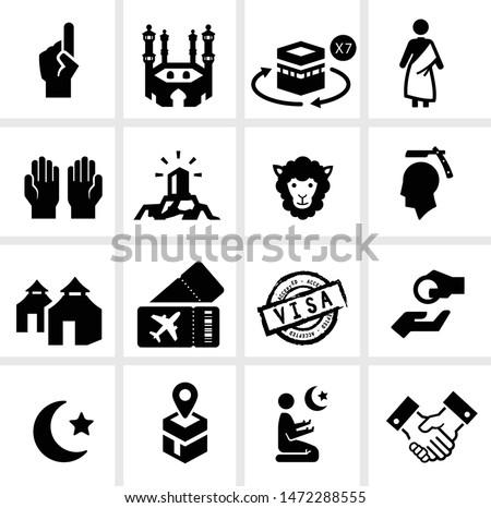 Hajj season icon set including Hajj Process and practice, muslim prayers, Arabic tradition and culture, Umra trip to Saudi Arabia