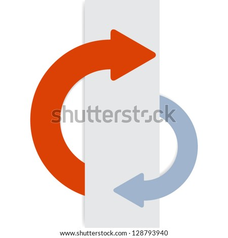 2 half-round sticky arrows. Can be used for infographics, web.