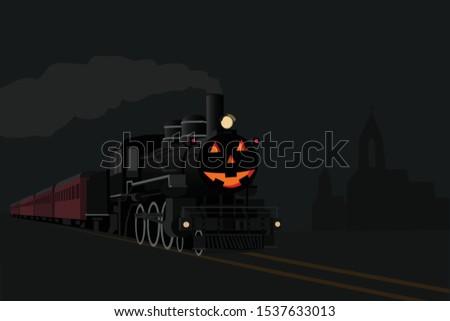 halloweeen ghost train in the