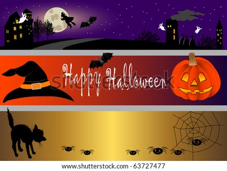halloween banners set. vector illustration.