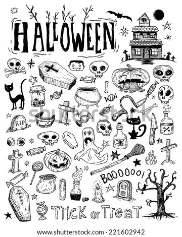halloween doodles elements
