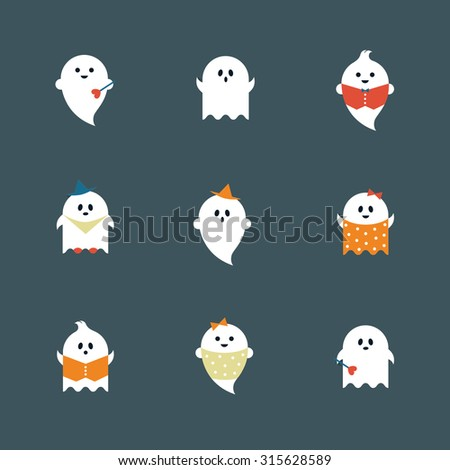 halloween ghosts flat icons set