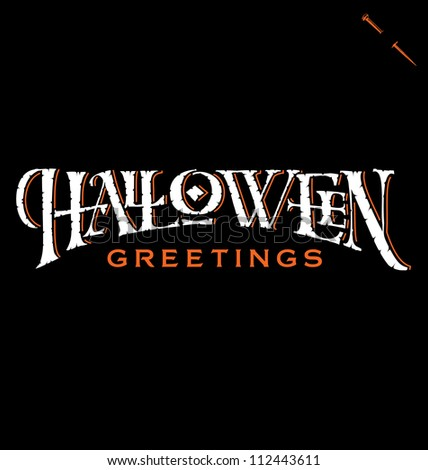 'Halloween Greetings' hand lettering, vector (eps8)