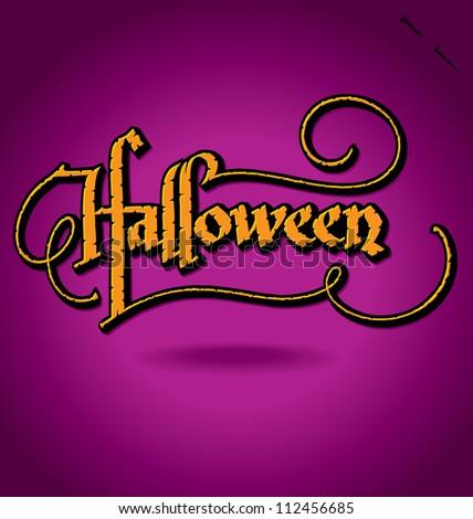 'Halloween' hand lettering - handmade calligraphy, vector (eps8);