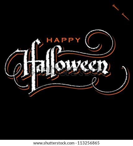 'halloween' hand lettering - handmade calligraphy, vector (eps8) - stock vector