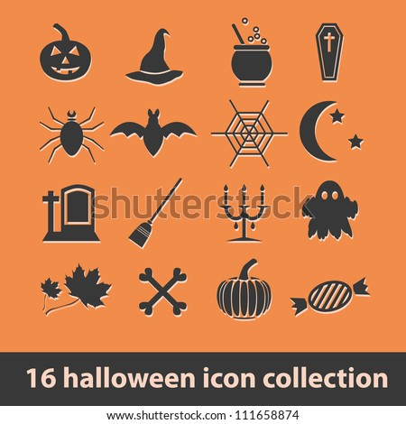 16 halloween icon collection