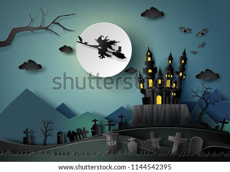 Halloween party ,Witch riding a broom flying in the sky with full moon night background.