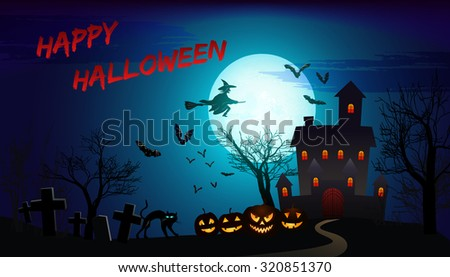 halloween poster with haunted