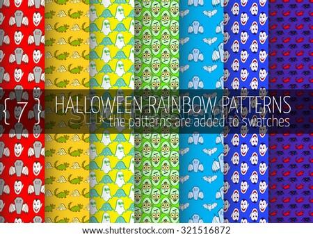 7 halloween rainbow seamless