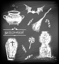 Halloween set. Hand- drawn Halloween related objects  and  animals - pot with boiling potion, flying bat, candies, broom, coffin and tombstone on chalkboard background.