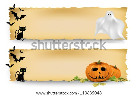 Halloween vertical banners width Halloween elements.