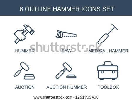 6 hammer icons trendy hammer