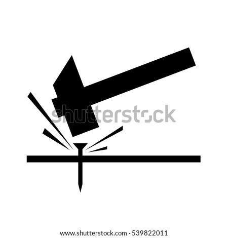 hammer spike  nail vector hit illustration - striking icon hardware logo silhuette. Hammer noise icon. Technology icon symbol,