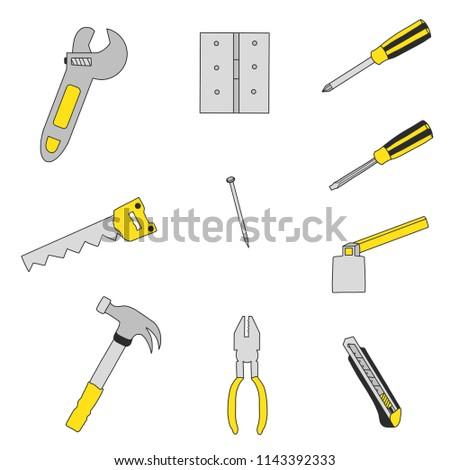 hand drawing craftsman tools , Hammer ,hacksaw,Nail, Screwdriver ,Pliers