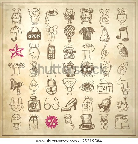 49 hand drawing doodle icon set on grunge background