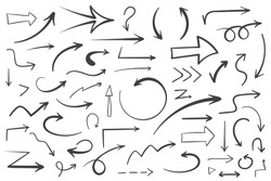 55 Hand drawn arrows on white background, doodle arrows, vector eps10 illustration