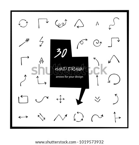 30 hand drawn arrows vector art. Arrow icon isolated. Round, curved, circle arrow sketch vector illustration. Right, left, down, up arrow doodle drawing. Illustrator arrow vector graphic design.