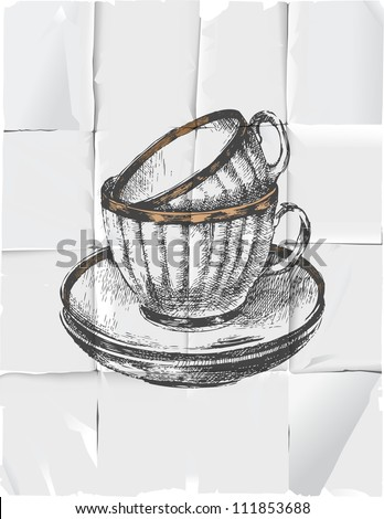 2 hand drawn cups with saucers over paper background