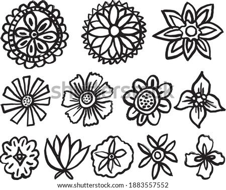 12 hand drawn decorative leaf