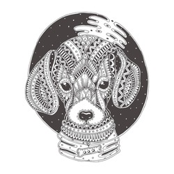 Hand-drawn dog with ethnic floral pattern. Coloring page - zendala, design for  relaxation and meditation for adults, vector illustration, isolated on a white background. Zen doodles