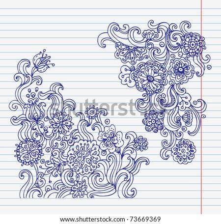 Hand-drawn doodle flower set - stock vector