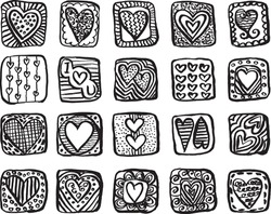 20 Hand Drawn Doodle Heart Within Square Shape Isolated Vector Illustration. Doodle Heart.