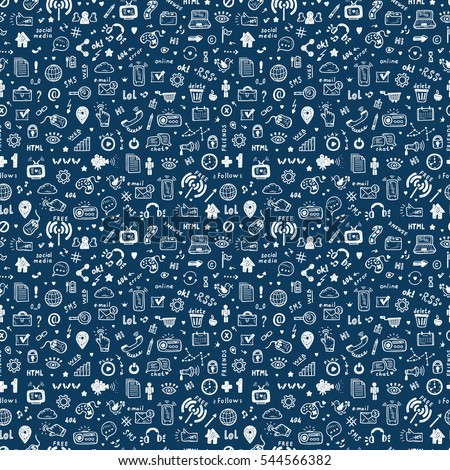 Hand Drawn Doodle Web Site Signs and Symbols. Social Media Icons Vector Seamless Pattern