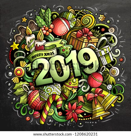 2019 hand drawn doodles chalk board illustration. New Year objects and elements poster design. Creative cartoon holidays art background. Colorful vector drawing