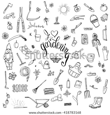 Hand drawn doodles of gardening gear. Lettering I love gardening. Tools, plants, pets and decorative elements for garden. #418783168