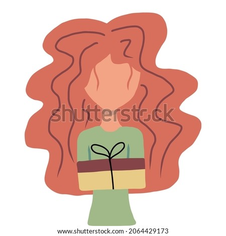 Hand-drawn illustration of a woman with gift in her hands. The concept of giving gifts for the holidays.