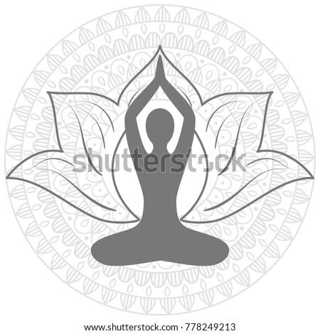 hand drawn  mandala, Lotus. Yoga asana.  Set of oriental ornaments for yoga studio  poster and logo, coloring book.