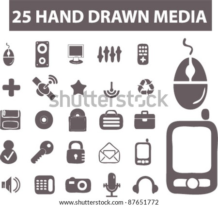 25 hand drawn media icons, signs, vector illustrations