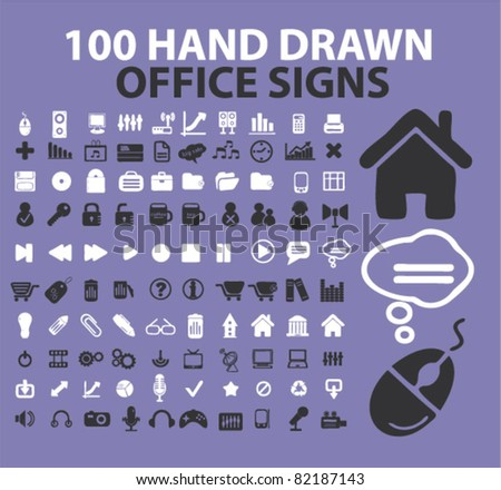 100 hand drawn office icons, signs, vector illustrations - stock vector