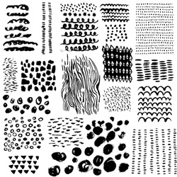 Hand Drawn pattern made with ink. Scribble, spot, drop, Vector. Isolated.