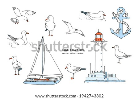 Hand drawn summer sea print. Marine pattern in cartoon style. Set of gull, seabird, flying seagull , lighthouse, anchor, yacht illustration.  Isolated doodle vector illustration set.  Sail, ocean Stockfoto ©