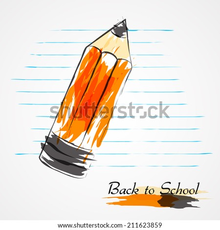 Hand drawn vector big pencil and piece of paper from notebook in lines on light background.