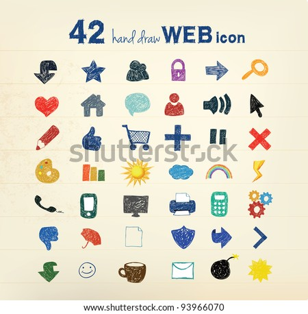 42 hand drawn vector illustration