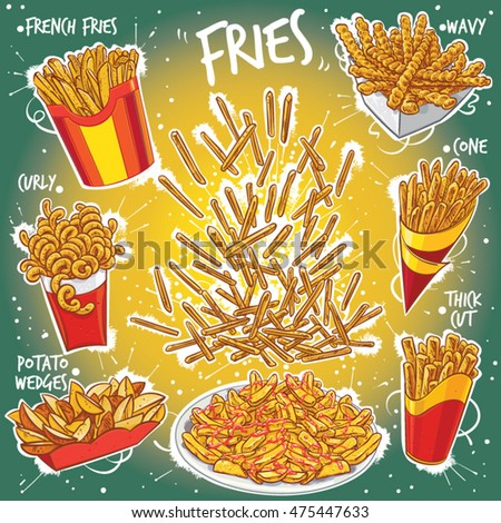 Hand drawn vector illustration of Fries, French Fries, Chips, French-fried Potato variations; wavy fries, curly fries, fries in cone, potato wedges, thick cut fries, fries on plate.