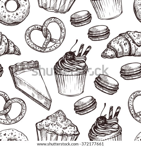 Hand drawn vector illustration - Seamless pattern with sweet and dessert. Yummy background (croissant, cupcakes, pretzels, cake, cheesecake, macaroon).