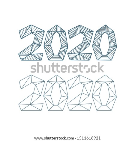 2020. 2020 hand drawn vector numbers logo. 2020 Happy New Year sketch drawing illustrations set. Part of set.
