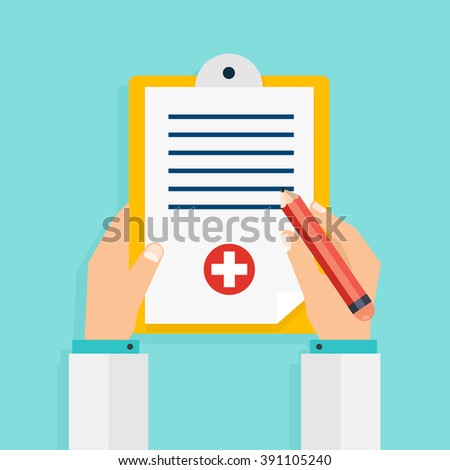 Hand holding clipboard with checklist and pen for medical report, presentation, web page banner. Vector modern creative flat design. Vector illustration.