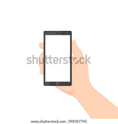Hand Holding Phone with white screen