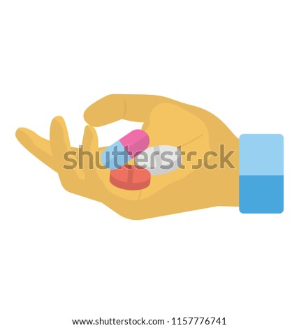 Hand holding pills, capsules for dosage or medicine intake   Stockfoto ©