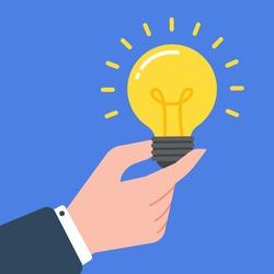 ็Hand of a businessman holding a glowing light bulb. Creative concept of business idea, solution, innovation, or inspiration. Simple trendy cute cartoon vector illustration. Flat style graphic.