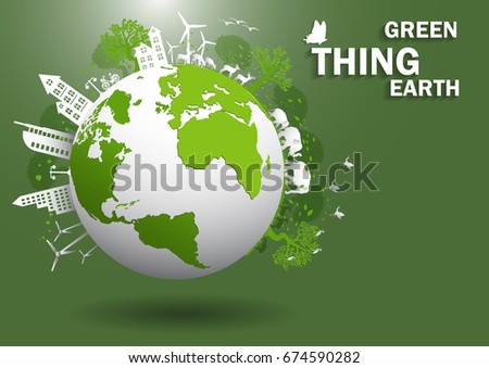 Hand,windmill and solar panels on the grass ,Environmentally friendly world. Vector illustration of ecology,concept Hand to protect the environment and The earth