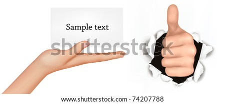 Hand with thumb up has broken through a paper and hand with card. Vector illustration.