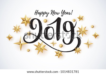 2019 hand written lettering with golden Christmas stars on a black background. Happy New Year card design. Vector illustration EPS 10 file.